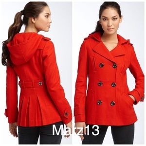 MISS SIXTY Hooded Wool Blend Peacoat Red Sz Small